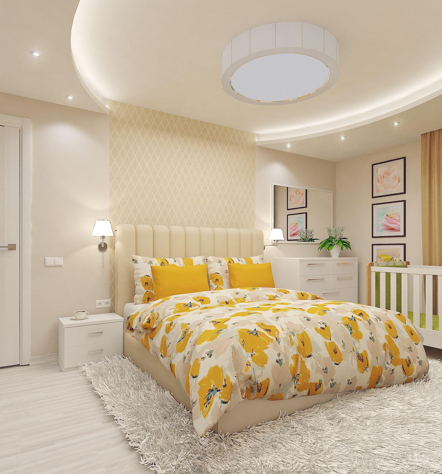 Спальня в песочном цвете дизайн