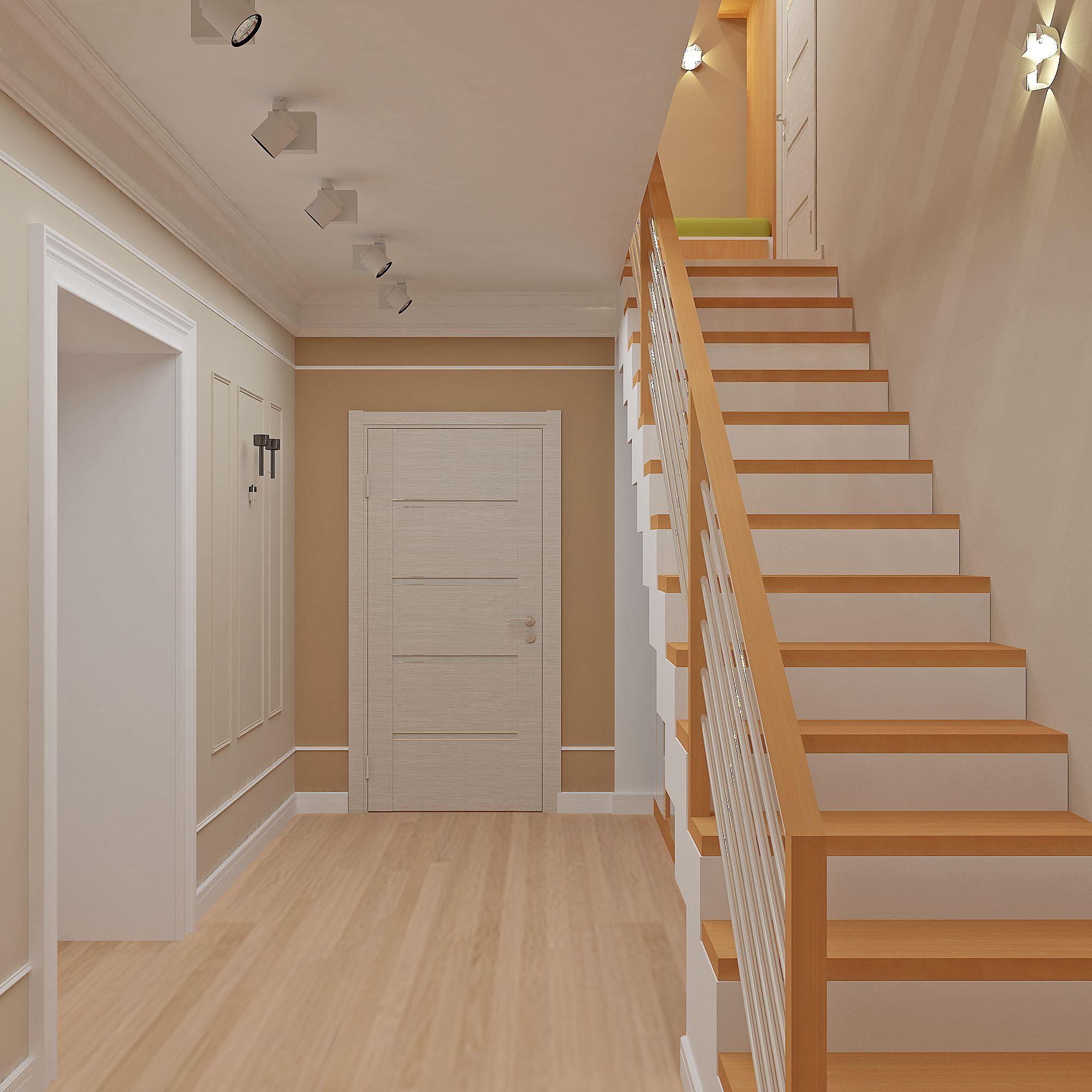 Дизайн фото холла с лестницей на второй этаж в частном доме