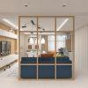 дизайн интерьера гостиной, интерьер гостиной в современном стиле, зонирования пространства при помощи перегородки.