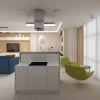 дизайн интерьера кухни, кухонный остров в интерьере, интерьер в современном стиле,