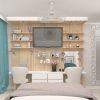 дизайн интерьера спальни, дизайн зоны ТВ, рабочая зона в спальне, туалетный стол в спальне, корпусная мебель в интерьере.
