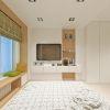 дизайн интерьера спальной комнаты, интерьер в современном стиле, дизайн зоны ТВ, скамья у окна