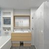 дизайн интерьера ванной комнаты, зонирование пространства в ванной, плитка в стиле пэчворк.