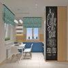дизайн кухни, дизайн интерьера кухни, кухня в современном стиле, грифельная доска, яркий интерьер кухни, дизайн корпусной мебели