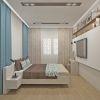 дизайн интерьера спальни, спальная комната в современном стиле, зона тв в спальне