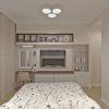 дизайн интерьера спальни, корпусная мебель в интерьере, интерьер спальной комнаты в пастельных тонах, дизайн корпусной мебели, дизайн зоны тв, туалетный столик в спальне