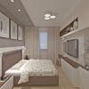 дизайн интерьера спальни, кровать Континенталь фабрики Эстетика, корпусная мебель в интерьере, интерьер спальной комнаты в пастельных тонах, дизайн корпусной мебели, дизайн зоны тв, туалетный столик в спальне