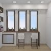 дизайн интерьера лоджии, зона хранения на лоджии, барная стойка на лоджии