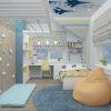 дизайн интерьера детской, интерьер детской для мальчика, подростковая комната, рабочая зона в детской