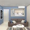дизайн интерьера гостиной, корпусная мебель в гостиную, интерьер гостиной в современном стиле, декоративный кирпич.
