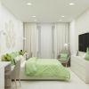 дизайн интерьера спальни, интерьер спальни в современном стиле, туалетный столик в спальне, рабочий стол в спальне, трафаретная роспись стен, корпусная мебель в интерьере.