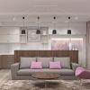 дизайн гостиной,дизайн интерьера гостиной, интерьер гостиной в современном стиле, зона тв, тумба тв, рабочая зона, рабочий стол в гостиной, барная стойка, световой дизайн, корпусная мебель в интерьере, фотопечать в интерьере