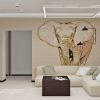 дизайн интерьера гостиной, дизайн зоны отдыха, мягкая мебель в интерьере, роспись стен, использование декоративного кирпича в интерьере