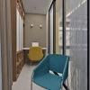 домашний кабинет на лоджии, дизайн рабочего места, дизайн лоджии, зона отдыха на лоджии