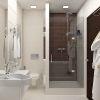 дизайн интерьера ванной в современном стиле, зонирование пространства санузла, душевая кабина