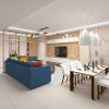дизайн интерьера гостиной, дизайн столовой зоны, дизайн зоны ТВ, дизайнерская корпусная мебель в интерьере