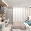 дизайн интерьера спальни, полоски в интерьере, дизайн спальни в пастельных тонах.