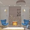 зона камина, камин в интерьере, 3Д панели, панели бамбук, камин в гостиной,камин в современном стиле