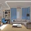 дизайн гостиной, дизайн гостиной в современном стиле, зона для чтения, фоторамки в интерьере, яркий текстиль в интерьере