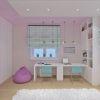 дизайн интерьера детской, интерьер детской для девочки, рабочая зона в детской