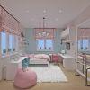 дизайн интерьера детской, интерьер детской для девочки, рабочая зона в детской, зона хранения в детской, корпусная мебель в интерьере