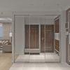 дизайн интерьера коридора, интерьер прихожей, встроенный шкаф в интерьере, зонирование пространства при помощи напольного покрытия, шкаф-купе в интерьере