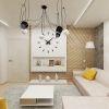 """дизайн интерьера гостиной, гостиная в современном стиле, настенные часы в интерьере, люстра системы """"паук"""""""
