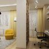 """дизайн интерьера гостиной, гостиная в современном стиле, настенные часы в интерьере, люстра системы """"паук"""", рабочий кабинет в гостиной, рабочая зона в гостиной"""