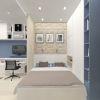 дизайн интерьера спальни, спальня в гостиной, дизайн квартиры-студии, декоративный кирпич в интерьере, корпусная мебель в интерьере, дизайн спальни в современном стиле.