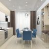 дизайн интерьера кухни, кухня в современном стиле, барная зона в интерьере, барная стойка, дизайн корпусной мебели, столовая зона на кухне.