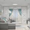 дизайн интерьера гостиной, интерьер гостиной, дизайн гостиной, дизайн-проект гостиной, декоративный кирпич в интерьере, электрокамин, корпусная мебель в интерьере.