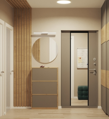 дизайн коридора, интерьер коридора, проект коридора, встроенная мебель в коридоре, интерьер прихожей, дизайн прихожей.
