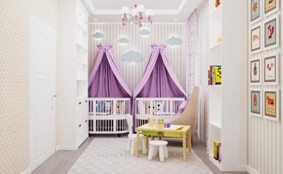дизайн детской, интерьер детской, детская комната, комната для девочки, дизайн комнаты для девочки, интерьер детской комнаты, интерьер комнаты для двойняшек, детская для близняшек, интерьер комнаты для близняшек