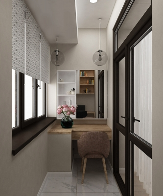 дизайн лоджии, проект лоджии, интерьер лоджии, рабочая зона на лоджии, туалетный стол на лоджии.