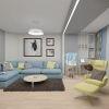 Современный интерьер гостиной комнаты. Зонирование пространства при помощи света.