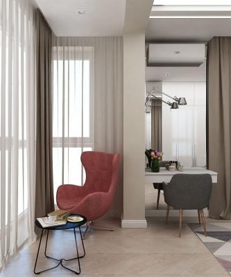 дизайн спальни, дизайн интерьера спальни, интерьер спальни, спальня в современном стиле, дизайн-проект спальни, дизайн спальной комнаты, дизайн лоджии, интерьер лоджии, присоединение лоджии к спальне.