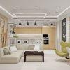 дизайн интерьера кухни-гостиной, зонирование пространства при помощи барной стойки, зона отдыха