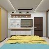 дизайн интерьера спальни, проект спальной комнаты в современном стиле, корпусная мебель в интерьере