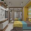 дизайн интерьера спальни, шкаф-купе в спальной комнате, корпусная мебель в интерьере